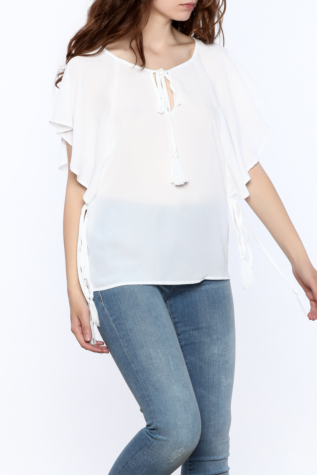 Lumiere White Tassel Top - Front Cropped Image