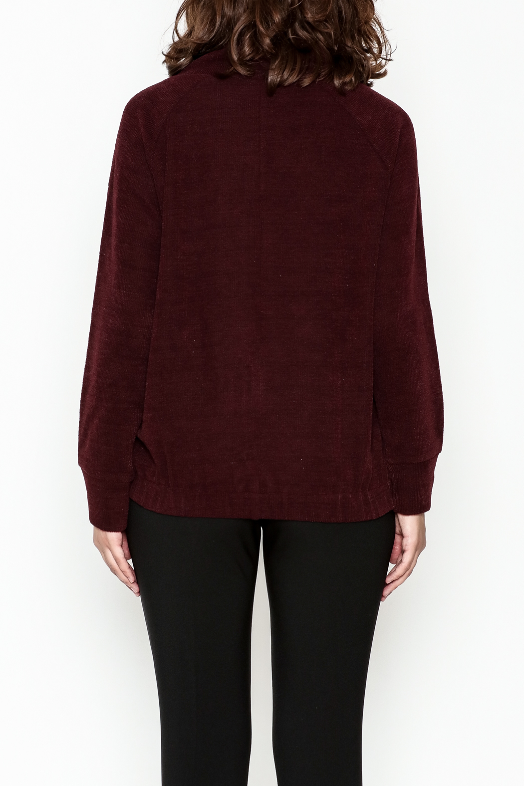 Lumiere Tie Turtleneck Sweater - Back Cropped Image