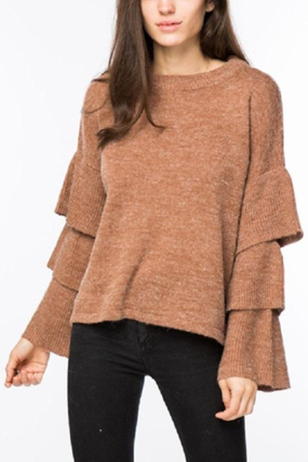 Lumiere Tiered Sleeve Sweater - Back Cropped Image