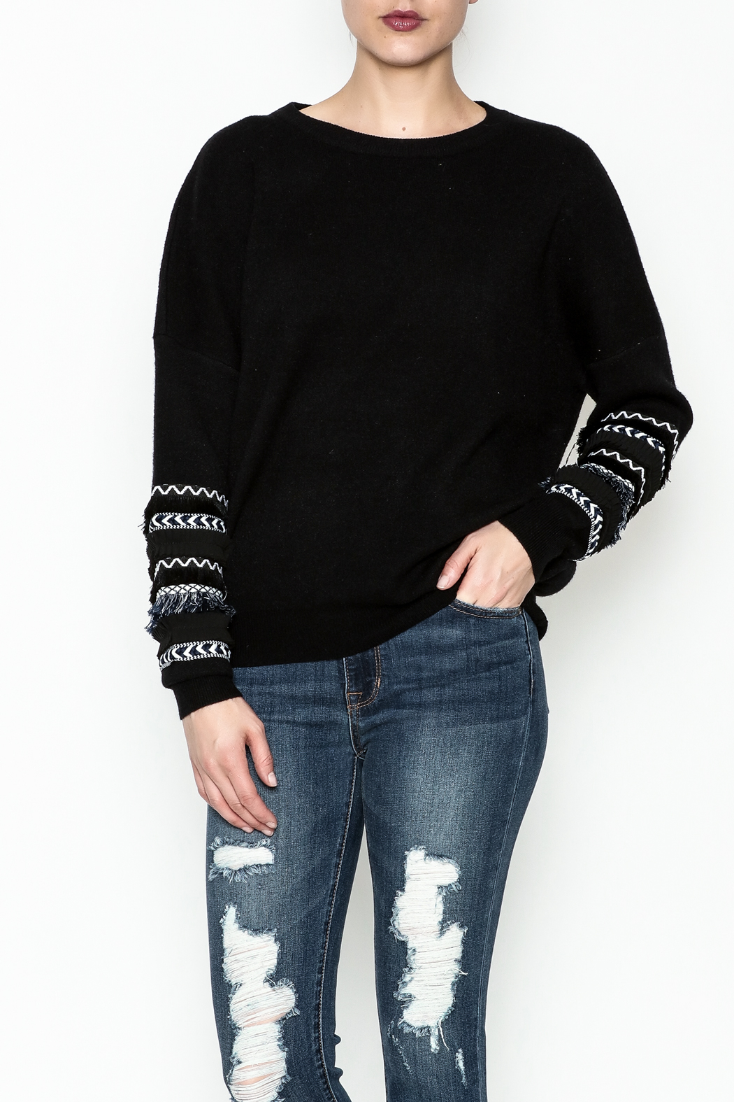 Lumiere Fringe Sleeve Sweater - Side Cropped Image