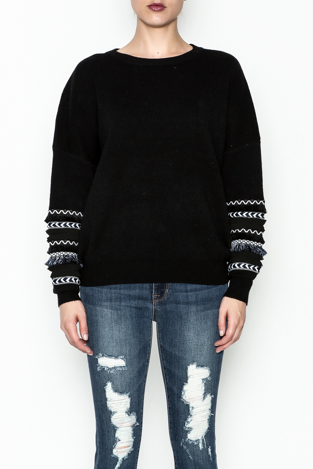 Lumiere Fringe Sleeve Sweater - Front Cropped Image