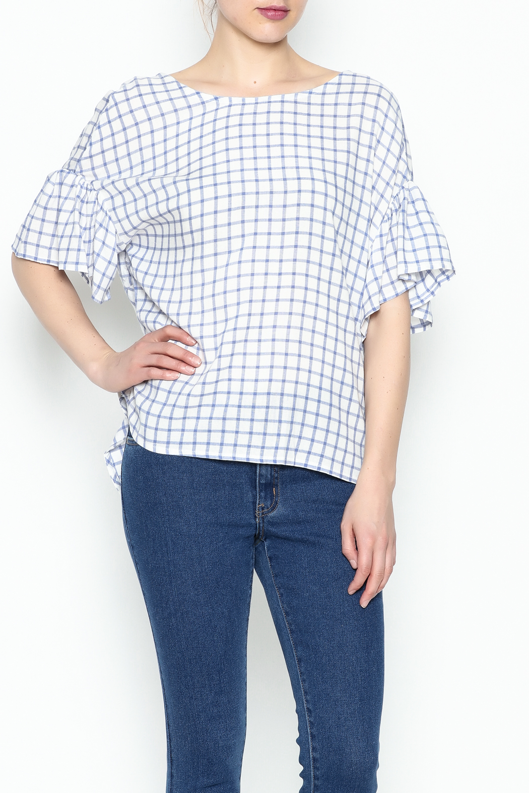 Lumiere Twist Check Top - Front Cropped Image
