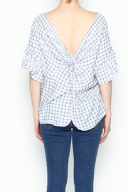 Lumiere Twist Check Top - Back cropped