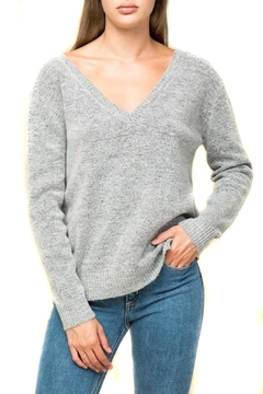 Lumiere V-Neck Gray Sweater - Product List Image