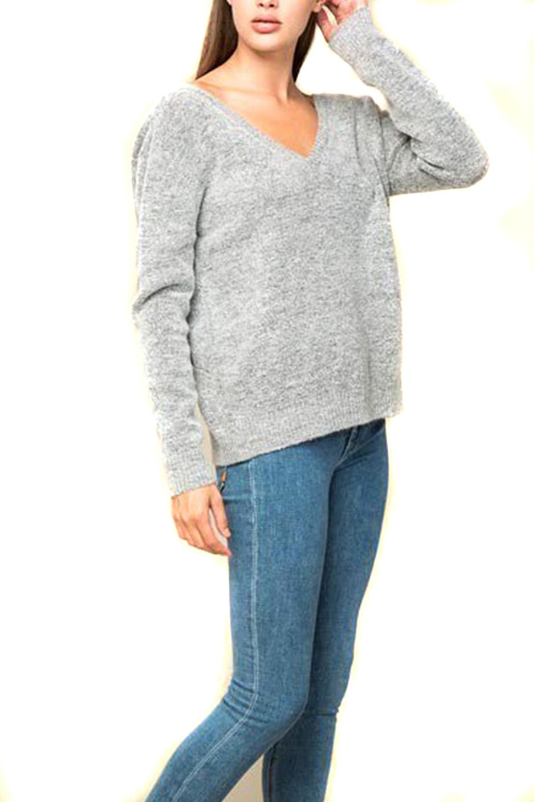 Lumiere V-Neck Gray Sweater - Front Full Image