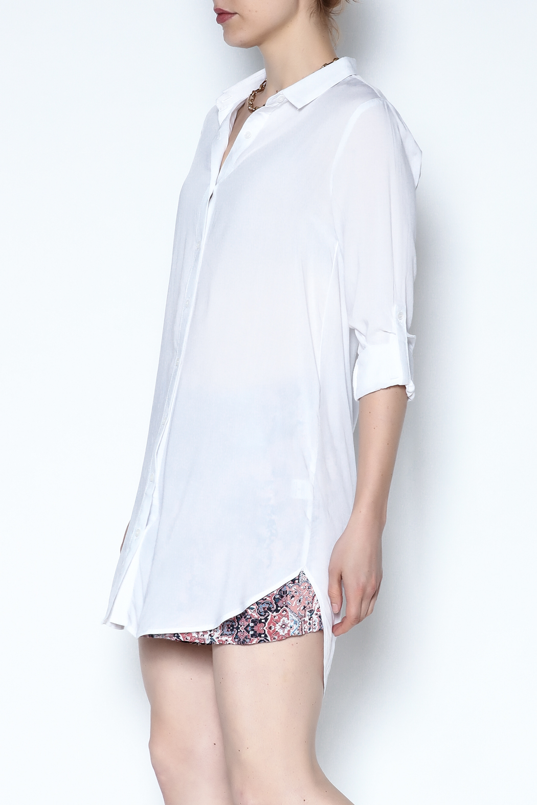 Lumiere White Breezy Tunic - Side Cropped Image