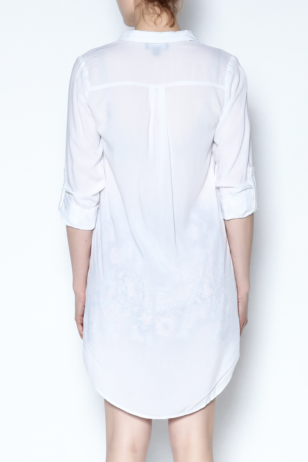 Lumiere White Breezy Tunic - Back Cropped Image