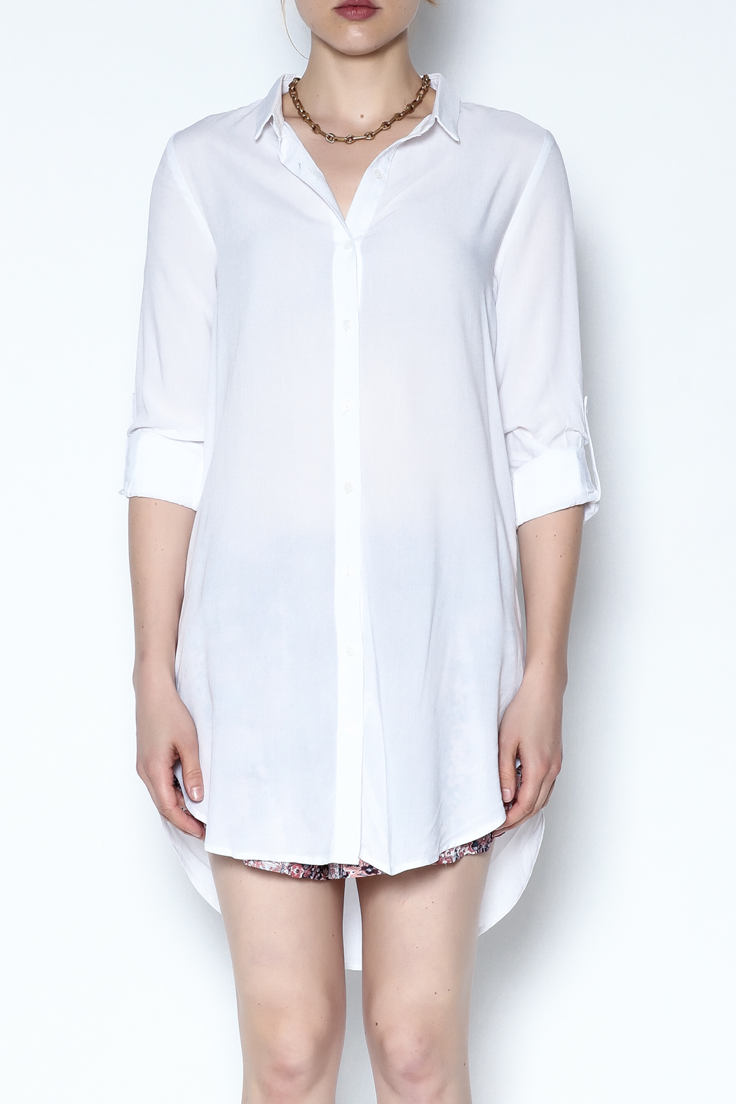Lumiere White Breezy Tunic - Front Cropped Image