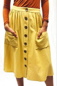 Lumiere Yellow Button-Front Skirt - Alternate List Image