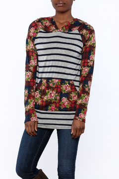 Shoptiques Product: Floral, Plaid and Striped Hoodie