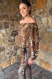 Julian Chang Luna OTS Animal Print Top w Tie - Product Mini Image