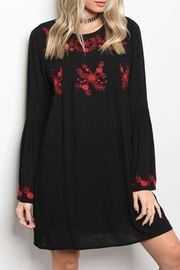 lunik Black/red Embroidery Dress - Product Mini Image