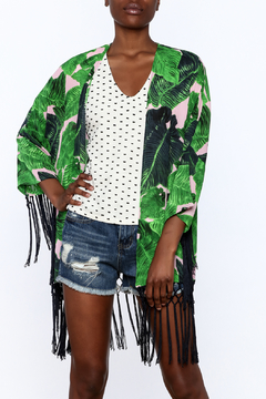 Shoptiques Product: Green Leaf Print Cardigan