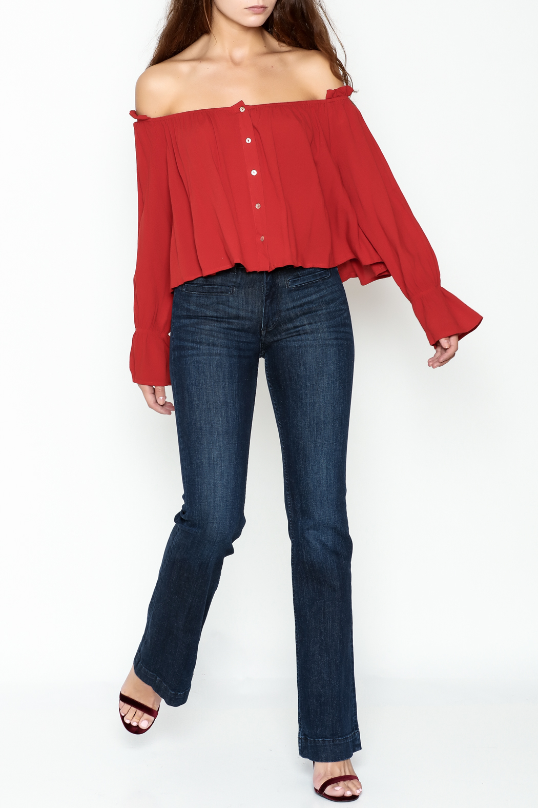 lunik Off Shoulder Buttoned Top - Side Cropped Image