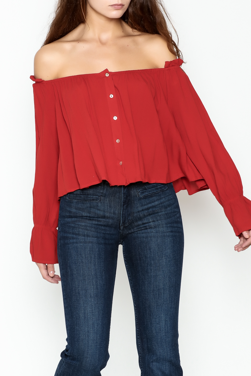 lunik Off Shoulder Buttoned Top - Main Image