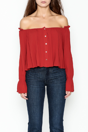 lunik Off Shoulder Buttoned Top - Front full body