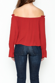 lunik Off Shoulder Buttoned Top - Back cropped
