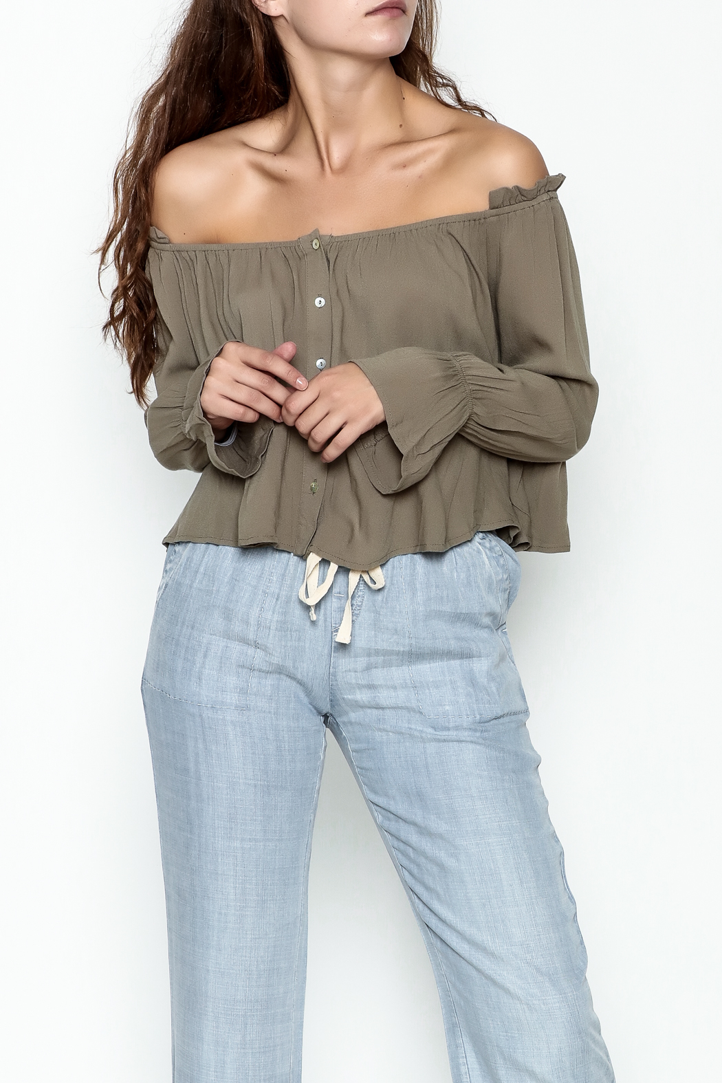 lunik Ruffle Shoulder Top - Front Cropped Image