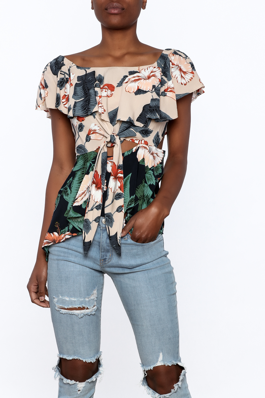 lunik Floral Front Tie Top - Front Cropped Image
