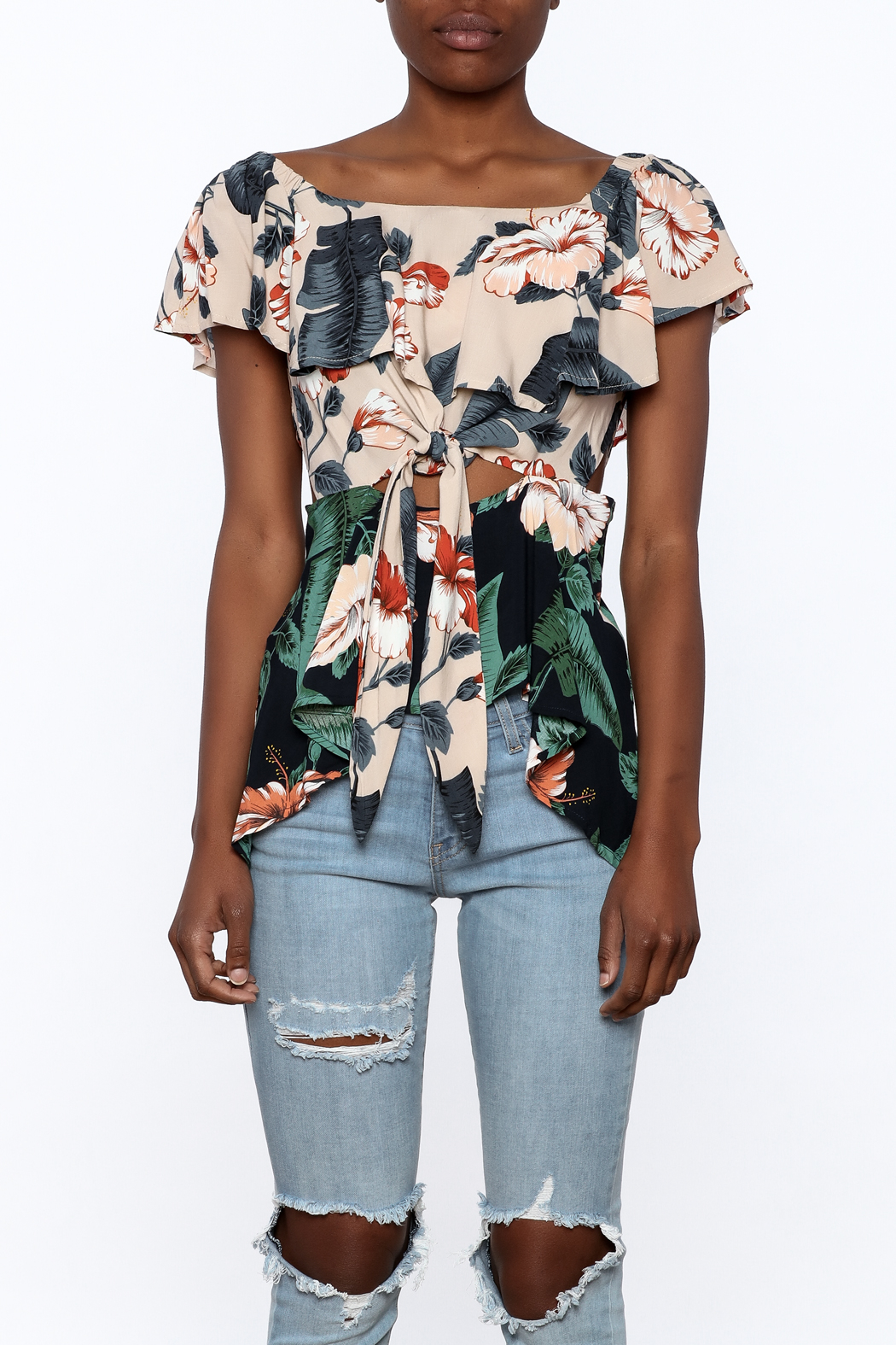 lunik Floral Front Tie Top - Side Cropped Image