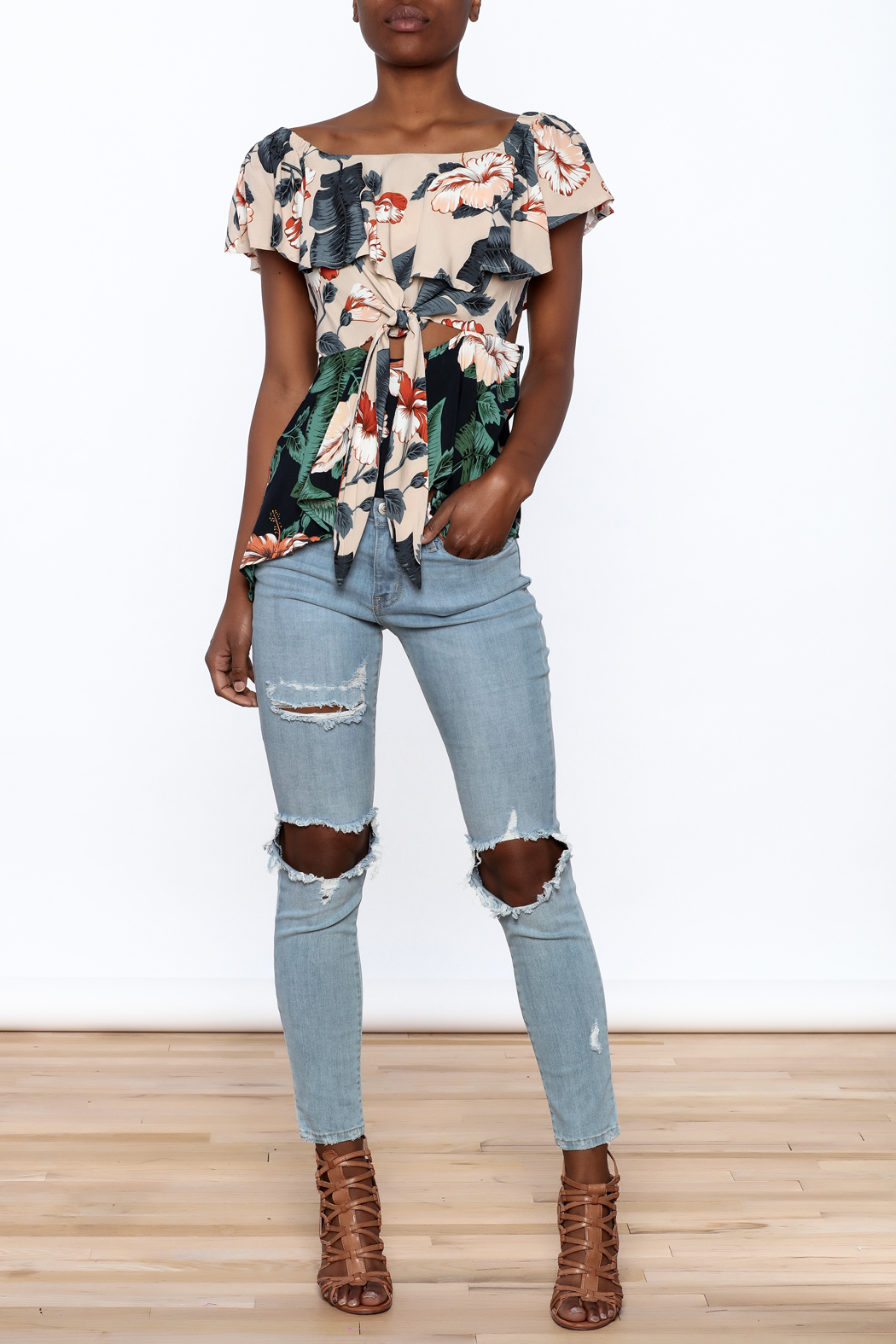 lunik Floral Front Tie Top - Front Full Image