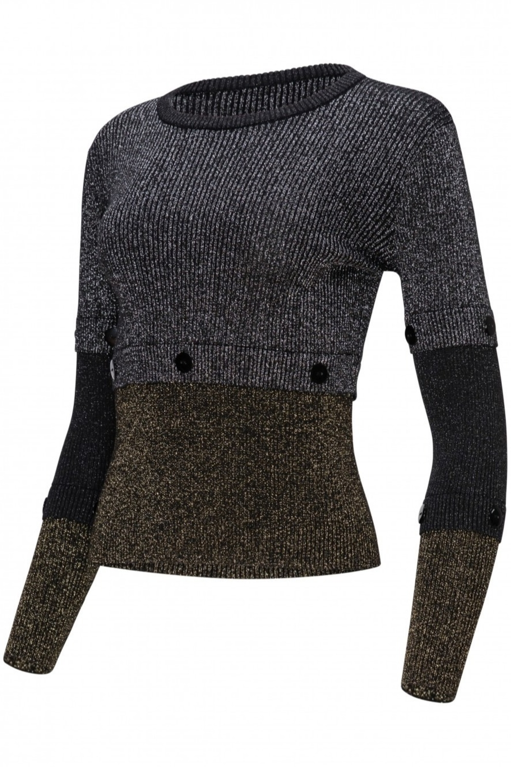 Yal NY Lurex black/gold/silver sweater - Front Full Image