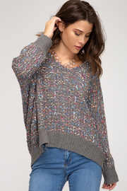 She + Sky Lurex Boucle Sweater - Product Mini Image