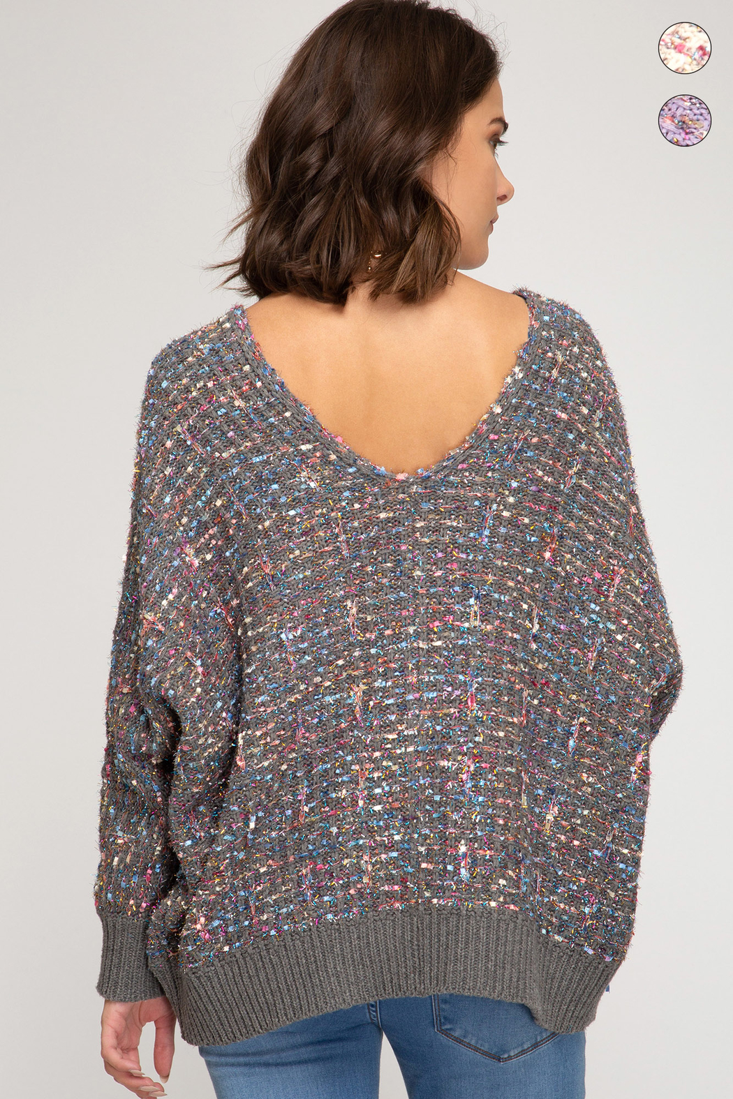 She & Sky  Lurex Boucle Sweater - Front Full Image
