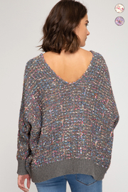 She & Sky  Lurex Boucle Sweater - Front full body