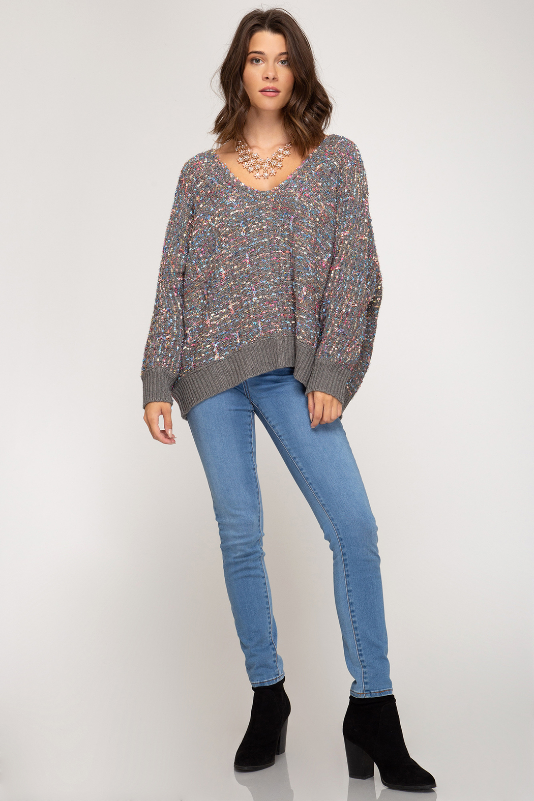 She & Sky  Lurex Boucle Sweater - Side Cropped Image