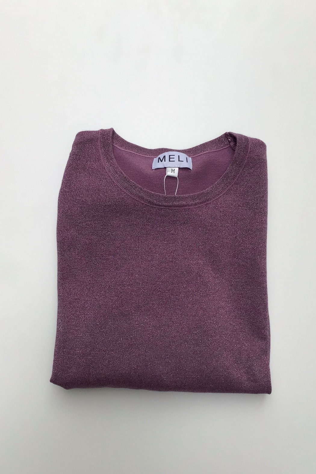 Meli by FAME LUREX CREW SWEATER LS - Front Cropped Image