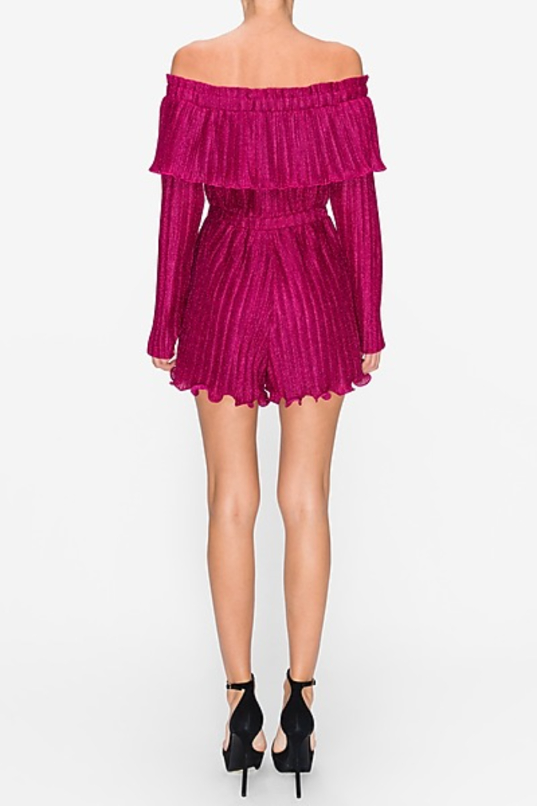 Endless Rose Lurex Pleated OTS Romper - Side Cropped Image