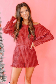 Endless Rose Lurex Pleated OTS Romper - Front cropped