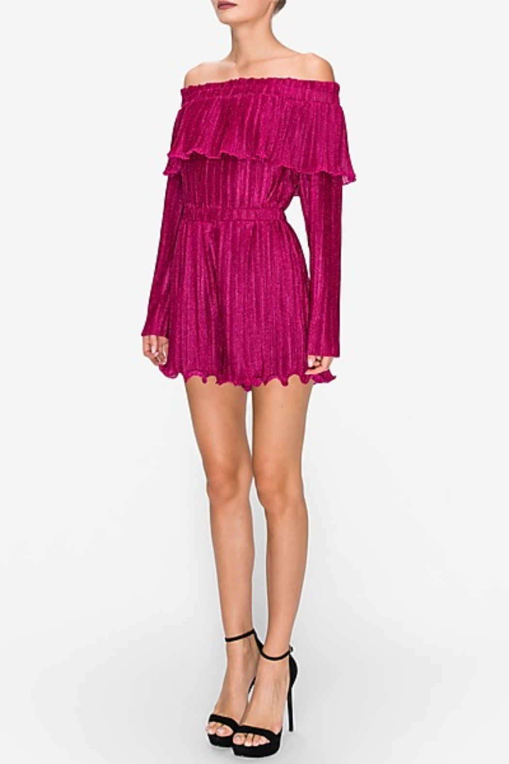 Endless Rose Lurex Pleated OTS Romper - Front Full Image