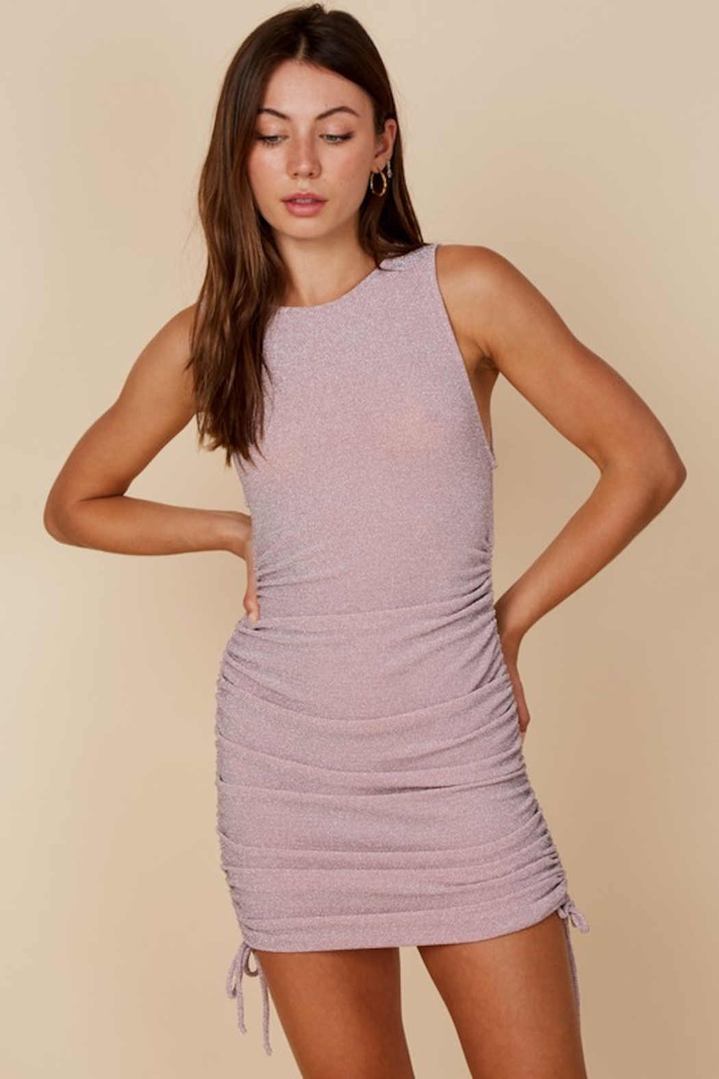 blue blush Lurey Ruched Dress - Front Cropped Image
