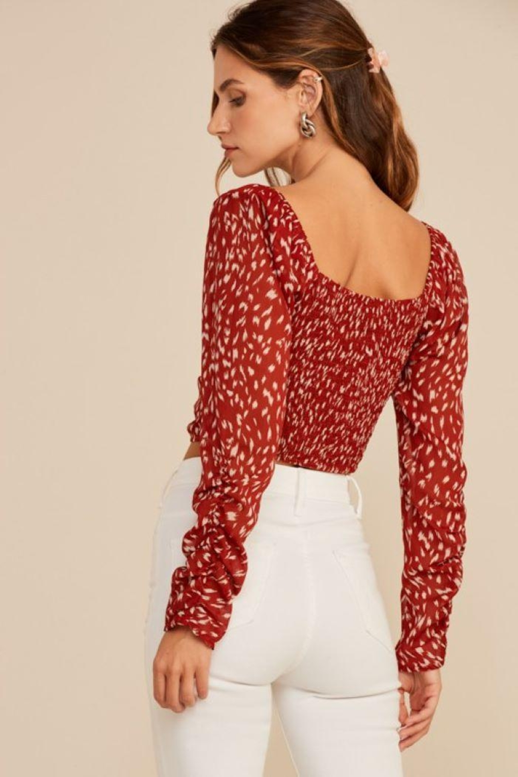 Lush Abstract Ruched Drawstring Top - Side Cropped Image