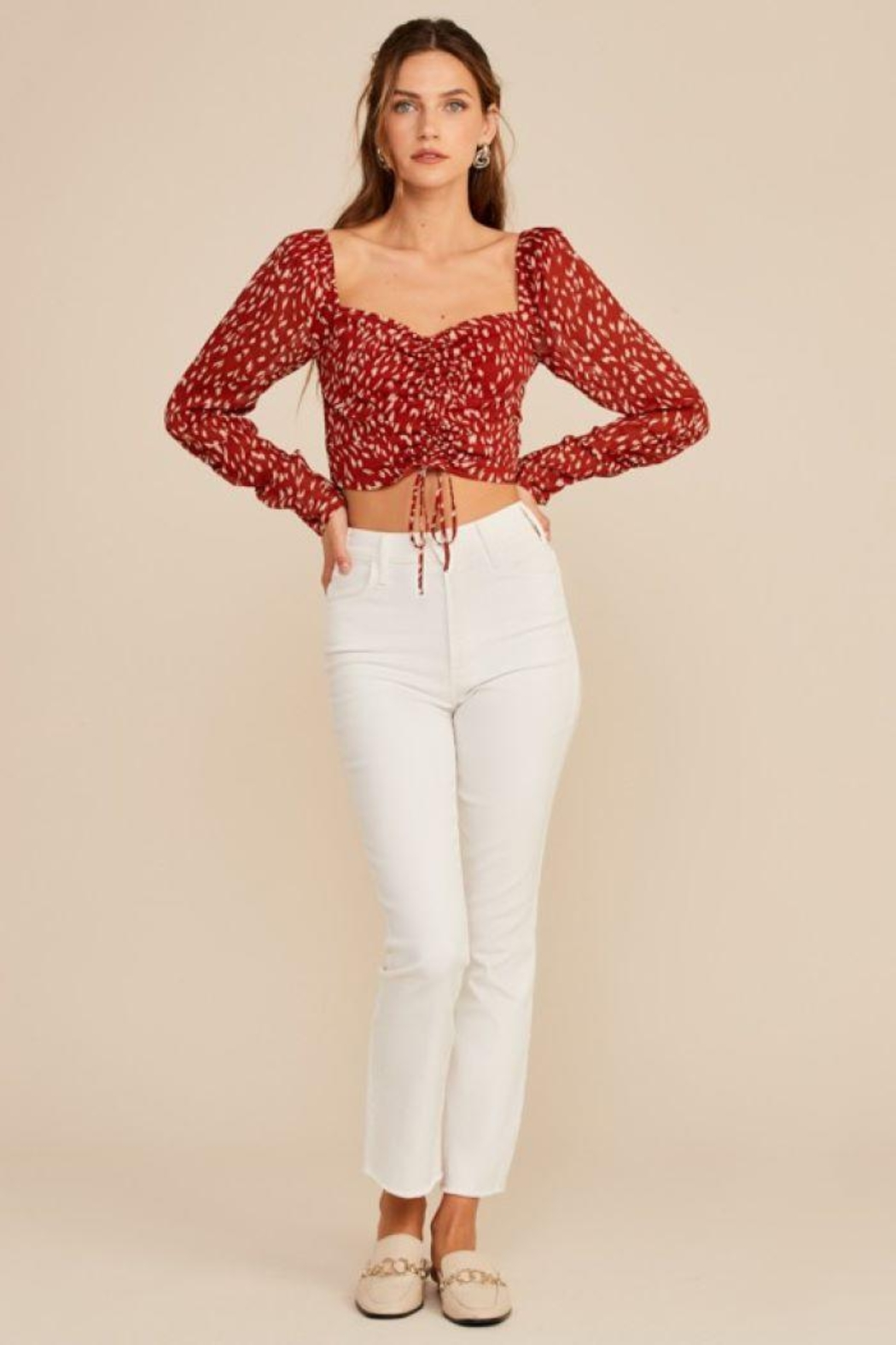 Lush Abstract Ruched Drawstring Top - Back Cropped Image