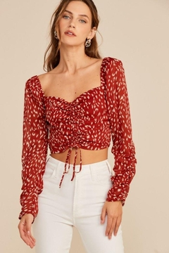 Lush Abstract Ruched Drawstring Top - Product List Image