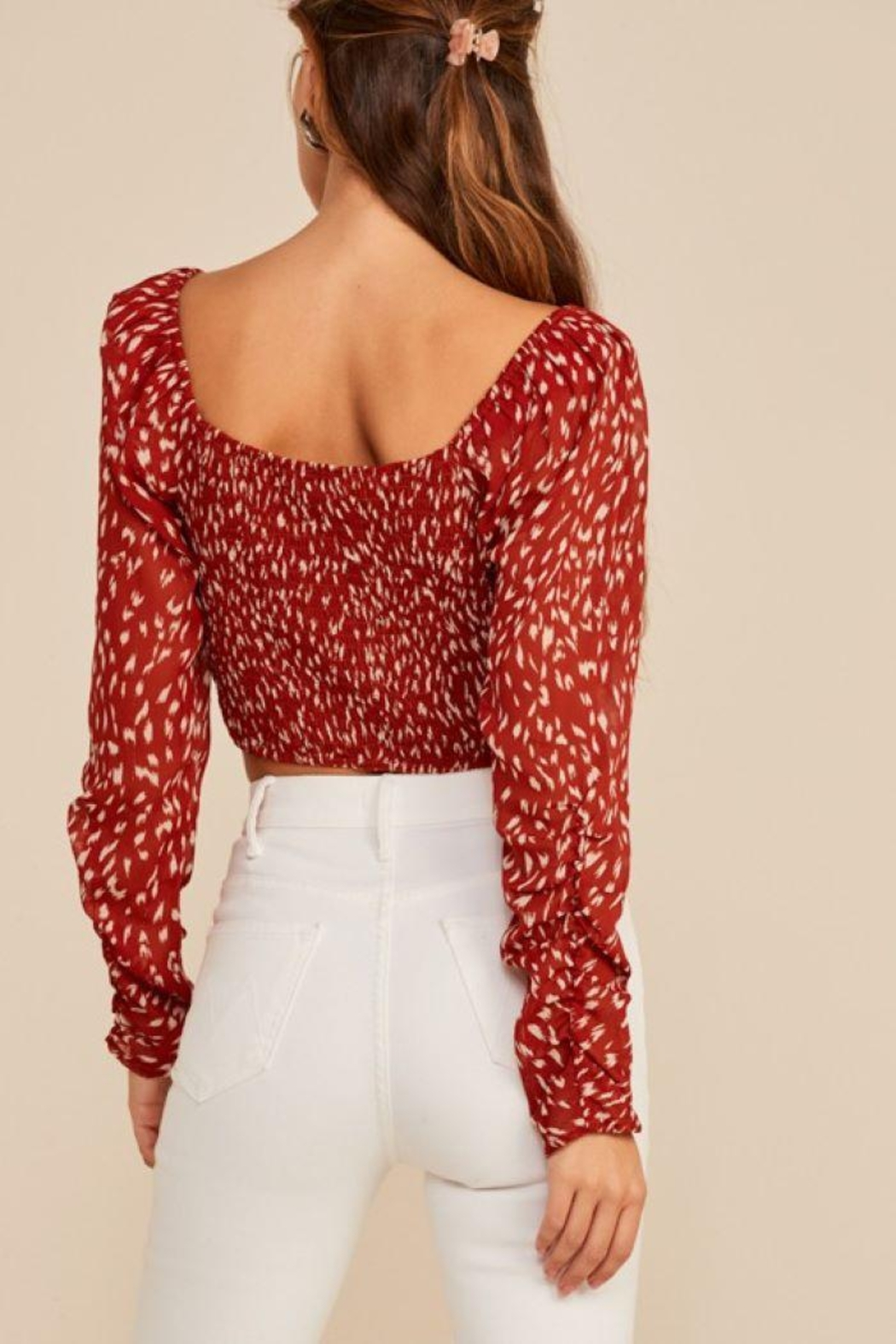 Lush Abstract Ruched Drawstring Top - Front Full Image