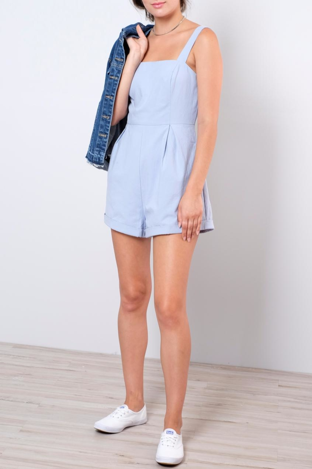Lush Apron Style Romper - Front Cropped Image