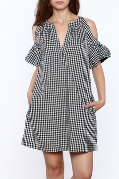 Shoptiques Product: Gingham Cold Shoulder Dress