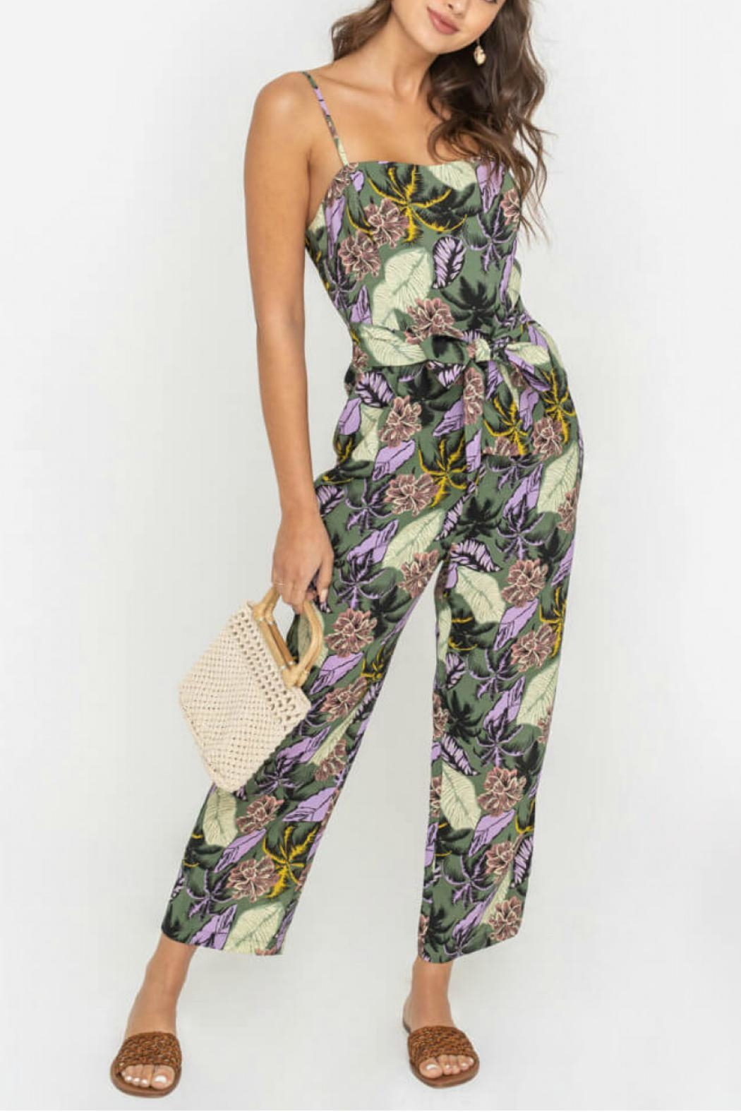 Lush Belted Floral Jumpsuit - Main Image
