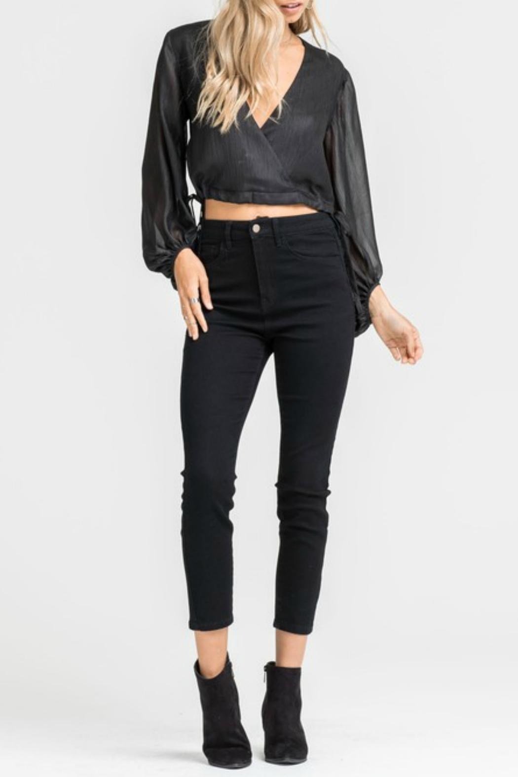 Lush Black Cropped Blouse - Front Full Image