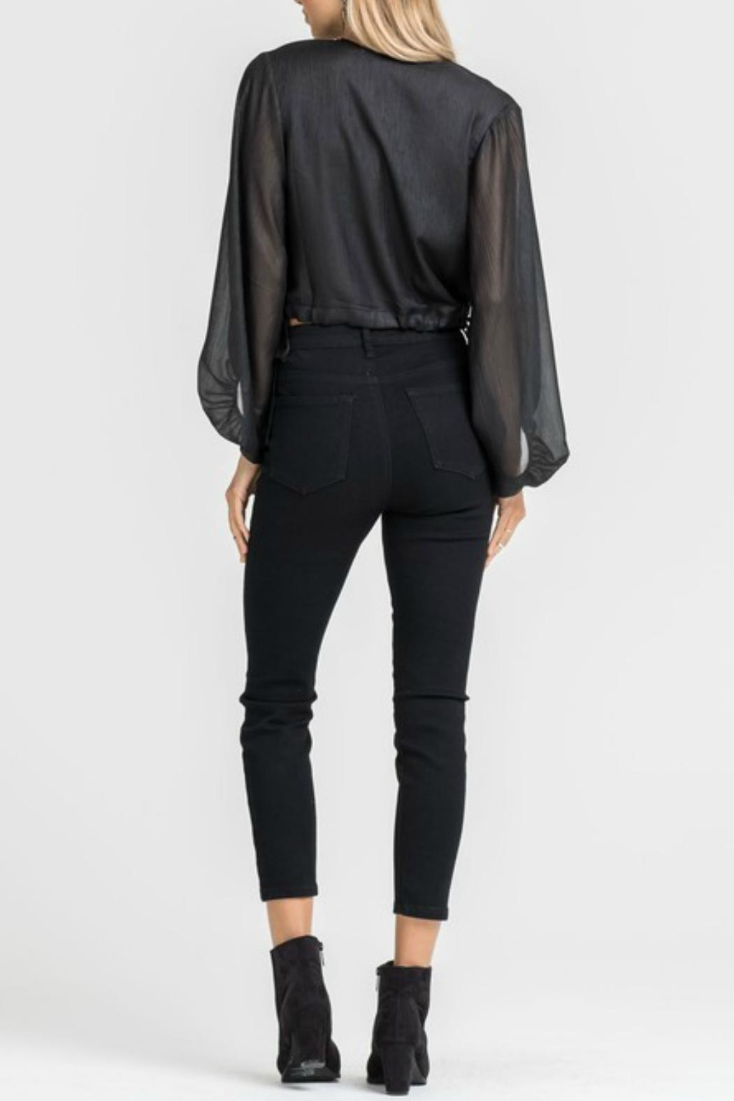 Lush Black Cropped Blouse - Side Cropped Image