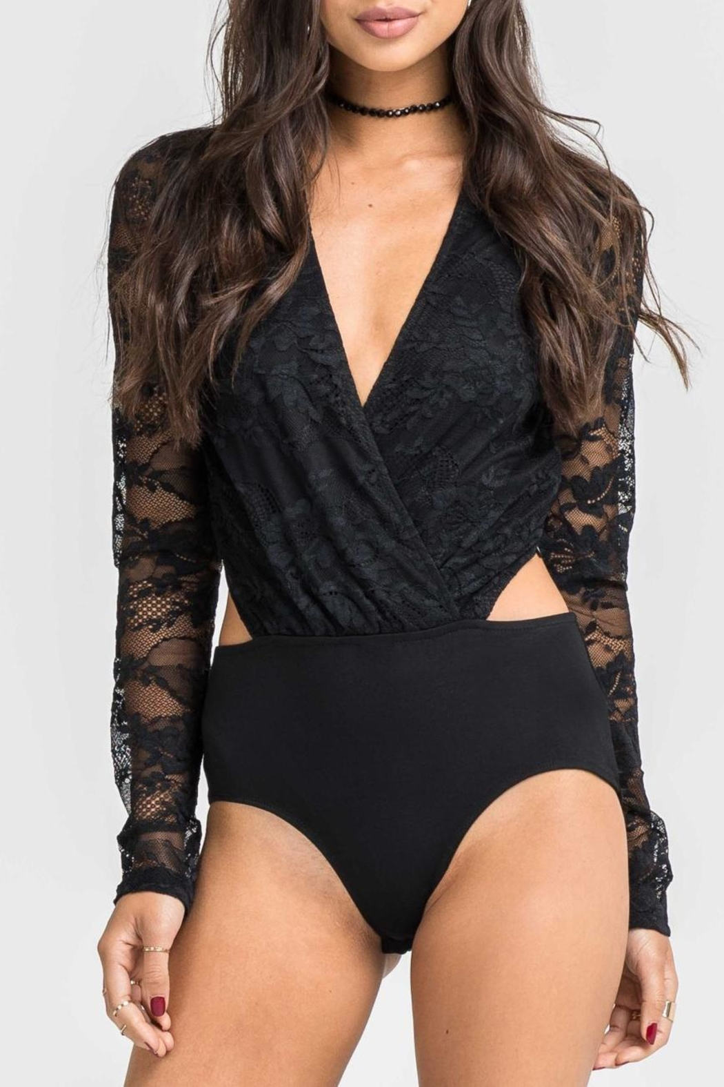 Lush Black Lace Bodysuit - Main Image