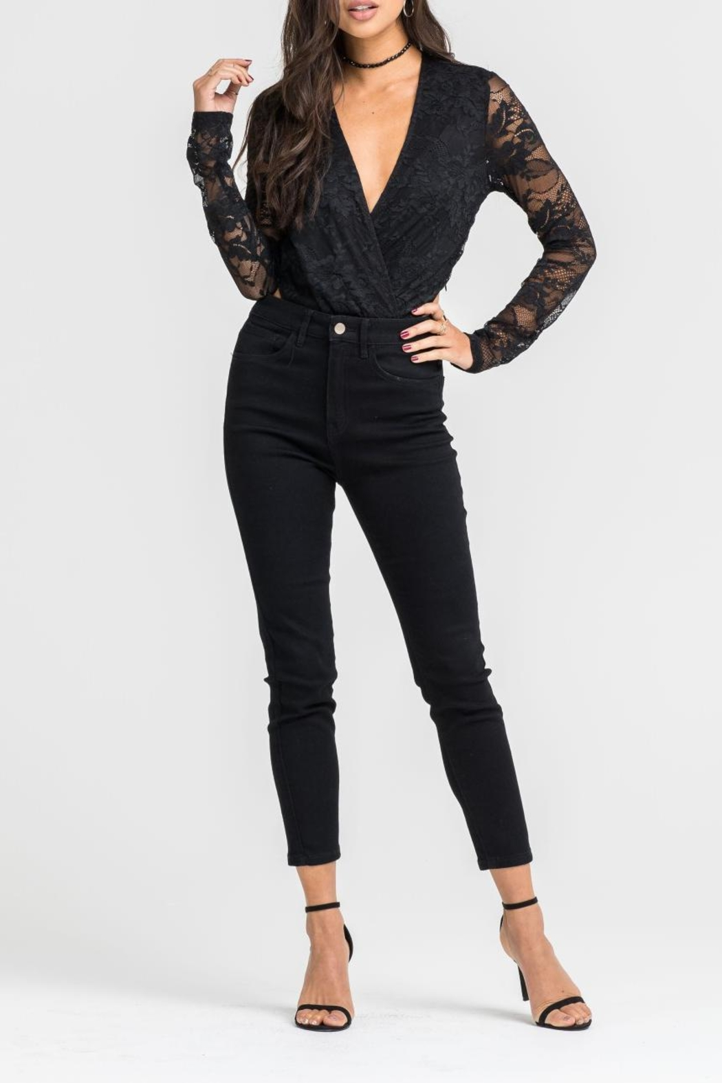 Lush Black Lace Bodysuit - Side Cropped Image
