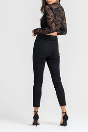 Lush Black Lace Bodysuit - Front full body