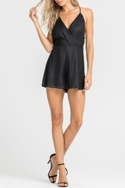 Lush Black Overlap Romper - Product Mini Image