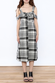 Lush Black Plaid Midi Dress - Front cropped