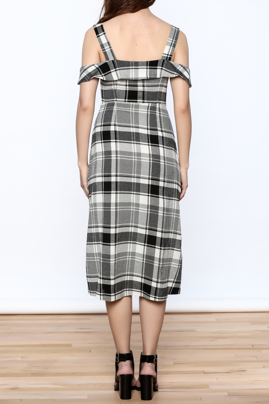 Lush Black Plaid Midi Dress - Back Cropped Image